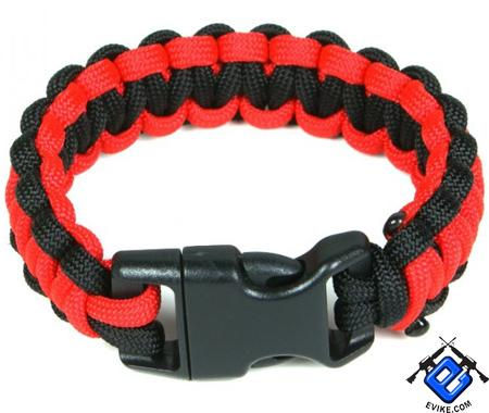 Evike.com Mil-Spec Survival Paracord Cobra Bracelet w/ QD Buckle - Red / Black 8