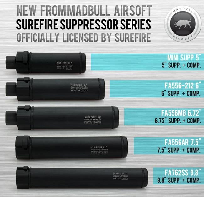 z Surefire Airsoft Licensed QD Mock Suppressor 6.72 Barrel Extension by Madbull