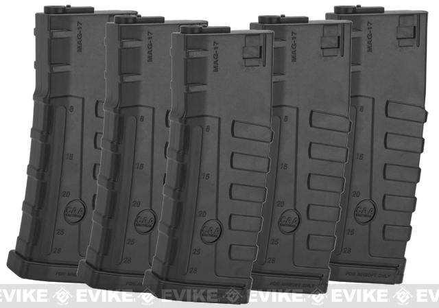 Command Arms CAA Licensed 140rd Mid-Cap Magazine for M4 M16 AEG by King Arms - Black (5 pack)