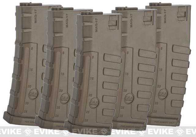 Command Arms CAA Licensed 140rd Mid-Cap Magazine for M4 M16 AEG by King Arms - Dark Earth (5 pack)