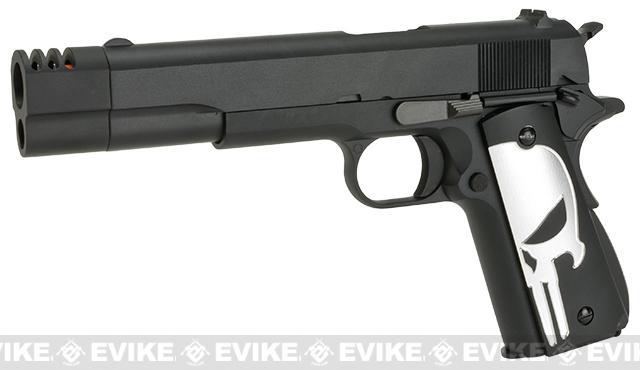 Evike.com Class I Custom Executioner WE-Tech 1911A1 Gas Blowback Airsoft Pistol with Compensator - Black