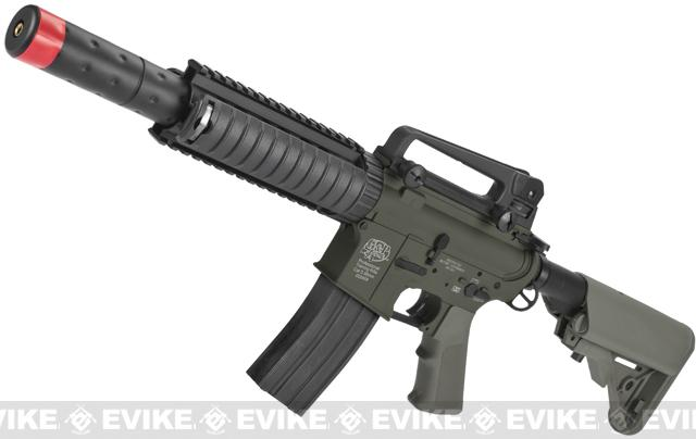 z Evike Custom G&P M4 CQB-R Airsoft AEG Rifle w/ Crane Stock - Foliage Green