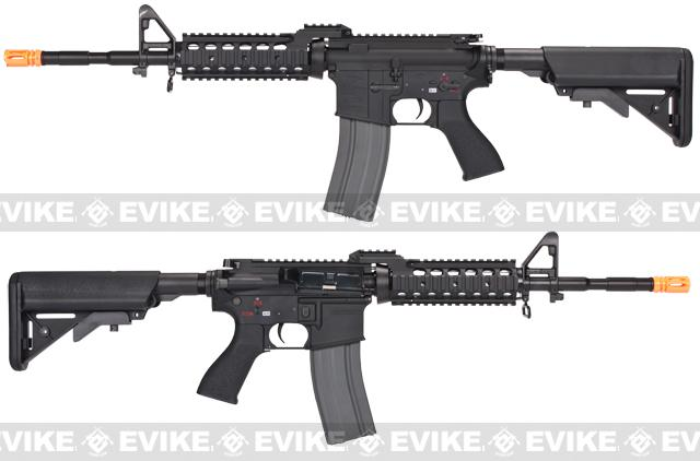 Evike Class I Custom G&G Full Metal M4 RASII Airsoft AEG Rifle w/ Crane Stock - Black (Package: Add 9.6 Butterfly Battery + Smart Charger)