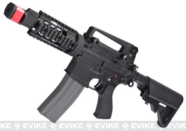 z Evike Custom G&G Full Metal M4 Tank Airsoft AEG Rifle w/ Crane Stock - Black
