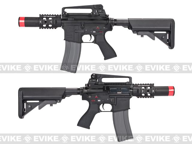Evike Class I Custom G&G Full Metal M4 Fighting Cat Airsoft AEG Rifle w/ Crane Stock - Black (Package: Add 9.6 Butterfly Battery + Smart Charger)