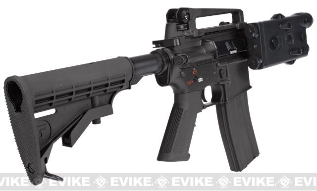 z Evike Custom G&G Full Metal M4 Fighting Cat Airsoft AEG Rifle w/ LE Stock - Black