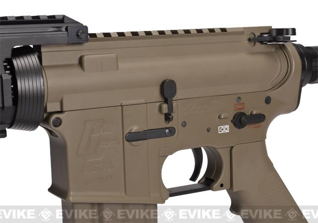 z Evike Custom G&G Full Metal M4 RASII Airsoft AEG Rifle w/ LE Stock - Tan