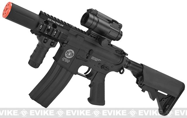 z Evike Custom G&G M4 Fighting Cat w/ Crane Stock Airsoft AEG Rifle - Black