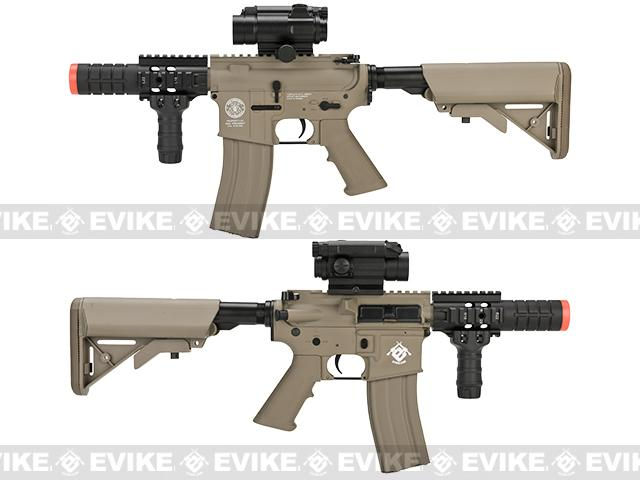 Evike Class I Custom G&G M4 Patriot w/ Crane Stock Airsoft AEG Rifle - Tan (Package: Add 9.6 Butterfly Battery + Smart Charger)