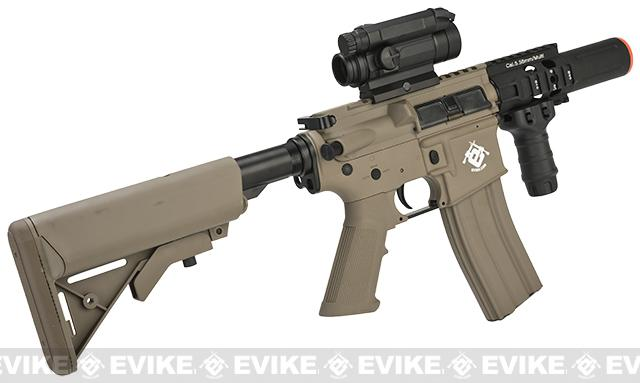 z Evike Custom G&G M4 Fighting Cat w/ Crane Stock Airsoft AEG Rifle - Tan