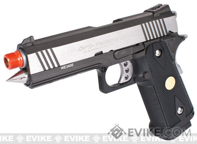 Evike Custom WE 4.3 Rocket Hi-CAPA OPS Gas Blowback Pistol - Black / Stainless