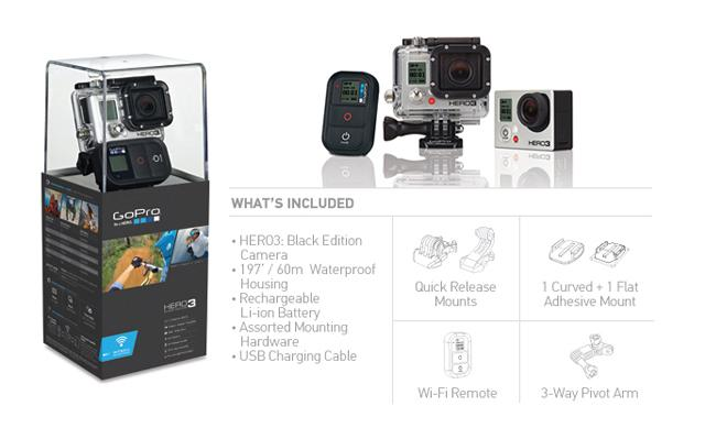 z GoPro HD HERO3 Professional Wearable HD Camera: Black Edition