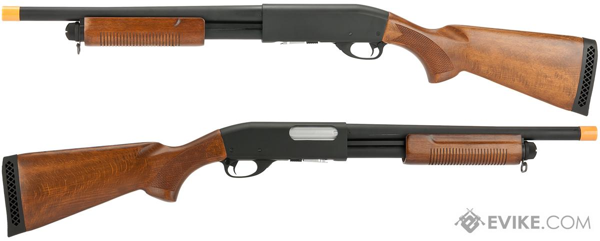 Classic Army S012P CA870 Spring Powered Police Type Shotgun with Metal Body and Wood Furniture