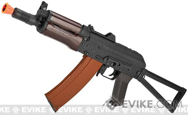 Pre-Order ETA August 2017 CYMA Stamped Metal AK74U w/ Folding Stock Airsoft AEG Rifle - Wood Furniture (Package: Gun Only)