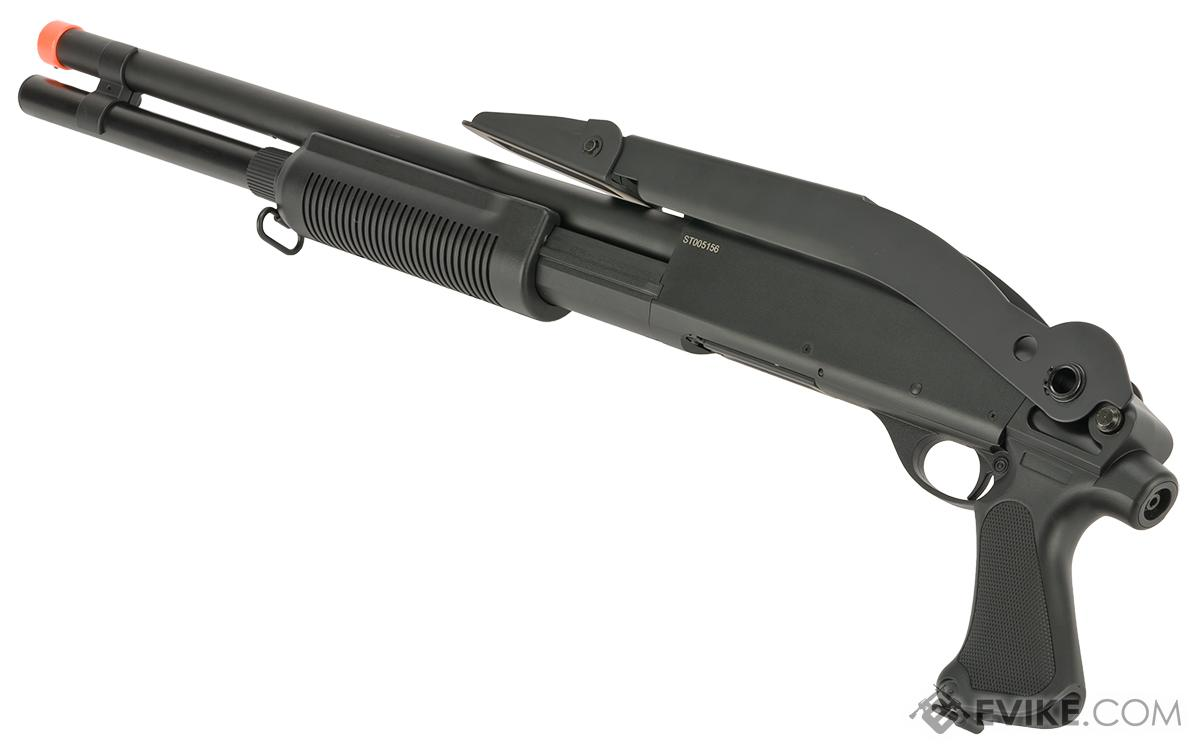 CYMA M870 3-Round Burst Multi-Shot Shell Loading Airsoft Shotgun - Long Barrel/Folding Stoc