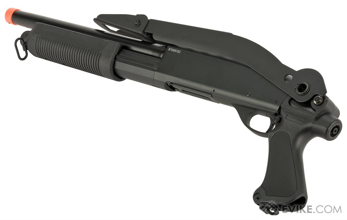 CYMA Metal M870 3-Round Burst Multi-Shot Shell Loading Airsoft Shotgun (Configuration: CQB with Folding Stock)
