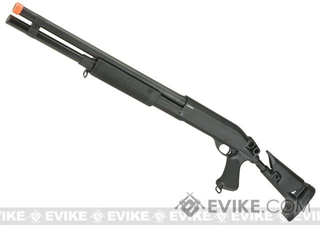 CYMA Metal M870 3-Round Burst Multi-Shot Shell Loading Airsoft Shotgun (Configuration: Ret. Stock / Long Barrel)