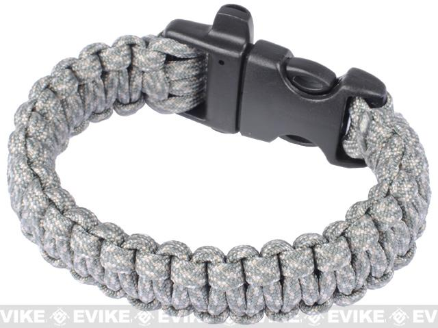 Evike.com Survival Paracord KING Cobra Bracelet w/ QD Whistle Buckle - (ACU / 7.5)