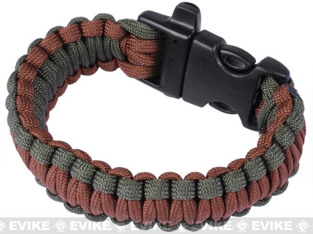Evike.com Survival Paracord KING Cobra Bracelet w/ QD Whistle Buckle - (OD & Brown / 7.5)