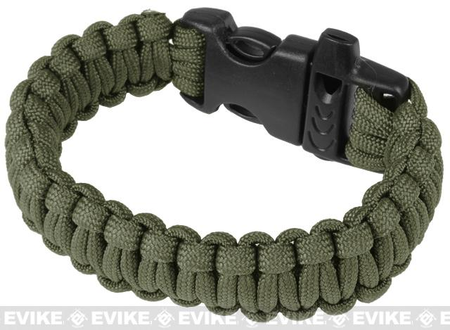 Evike.com Survival Paracord KING Cobra Bracelet w/ QD Whistle Buckle - (OD Green / 7.5)