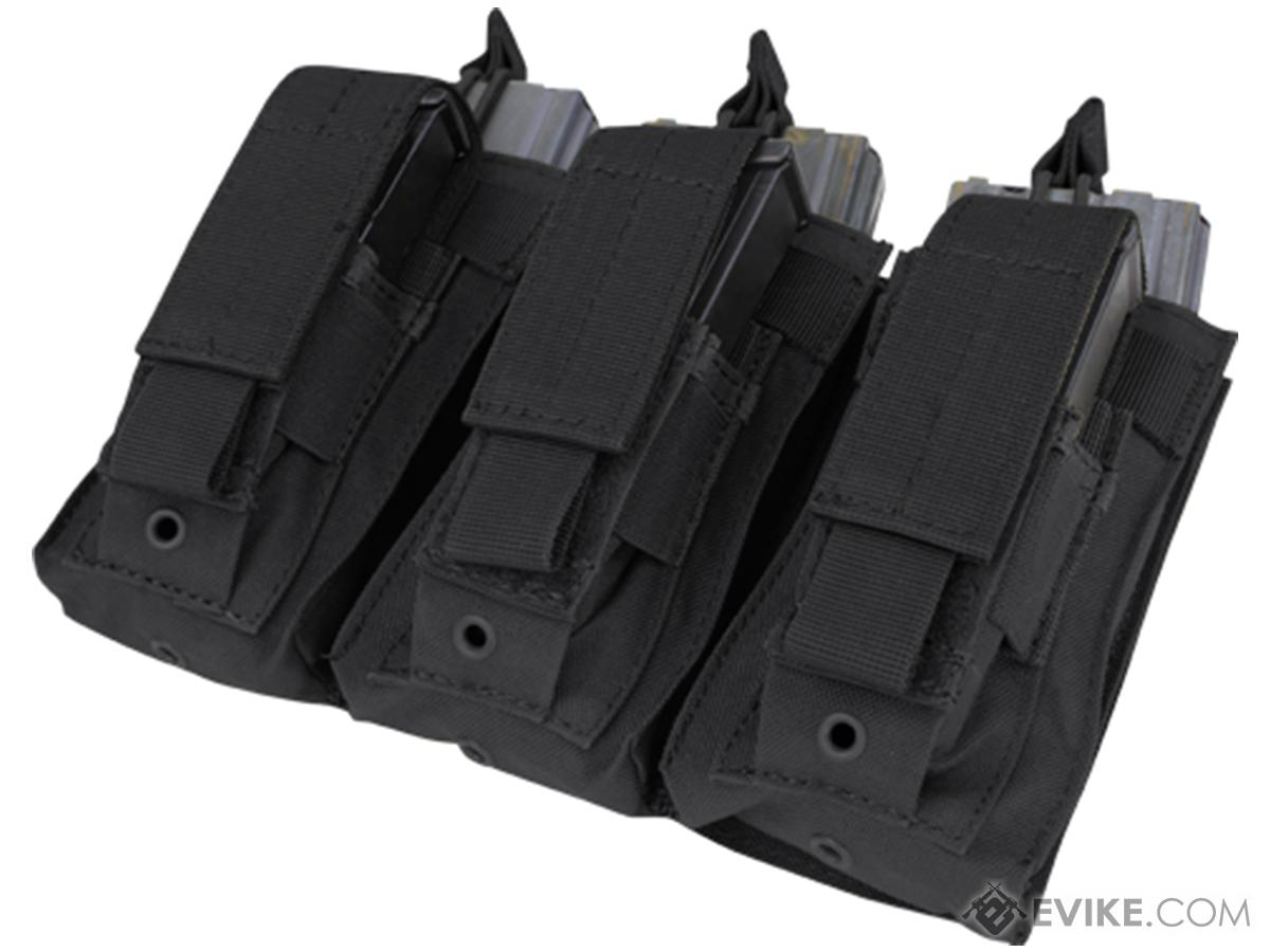 Condor Tactical Open Top Triple AR15 / M4 / M16 / 5.56 NATO w/ Triple Hook & Loop Flap Magazine Pouch (Color: Black)