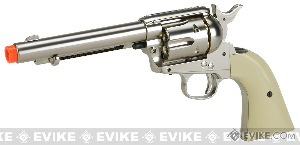 Wingun CO2 Powered 1873 Single Action Airsoft Revolver - High Polish Silver