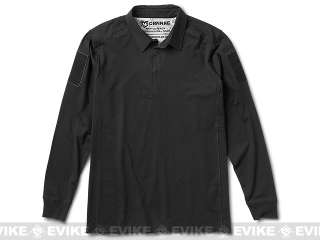 Cannae Professional Operator Long Sleeve Cotton Polo Shirt - Black (Size: X-Large)
