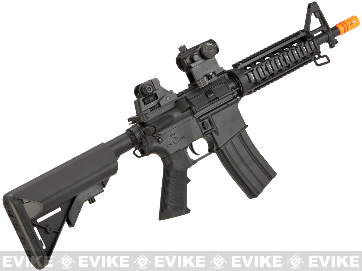 CYMA Full Metal M4-CQB RIS Carbine Airsoft AEG Rifle - (Package: Add 9.6 Butterfly Battery + Smart Charger)
