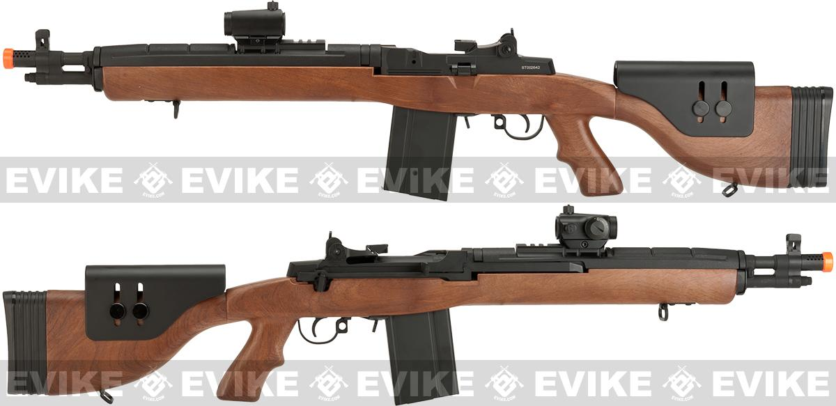 CYMA M14 SOCOM Airsoft AEG with Polymer DMR Style Stock - Imitation Wood (Package: Add Battery + Charger)