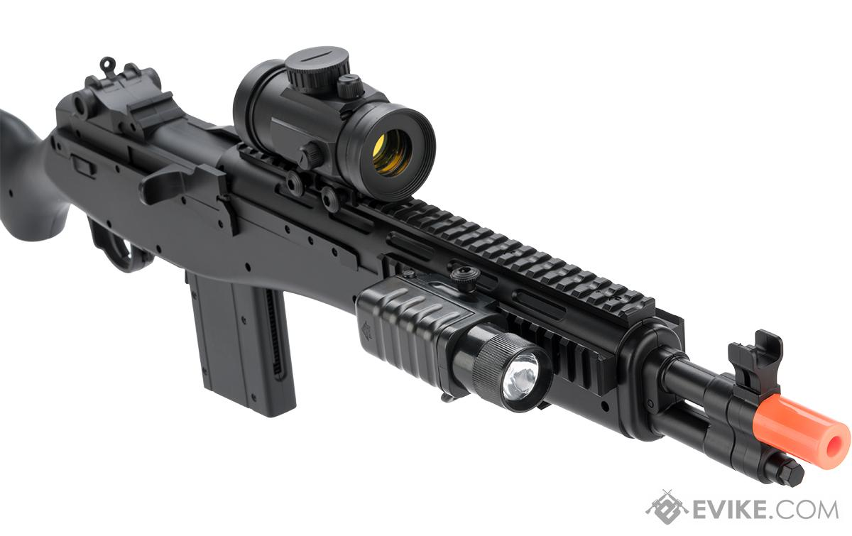 Double Eagle M14 SOCOM Airsoft Spring Powered Rifle with Red Dot and Flashlight