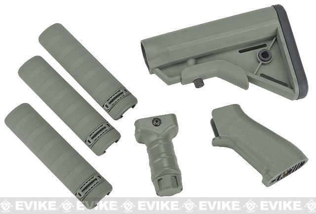 DYTAC SOPMOD Furniture Kit for M4 / M16 Series Airsoft Rifles - Type A / Foliage Green