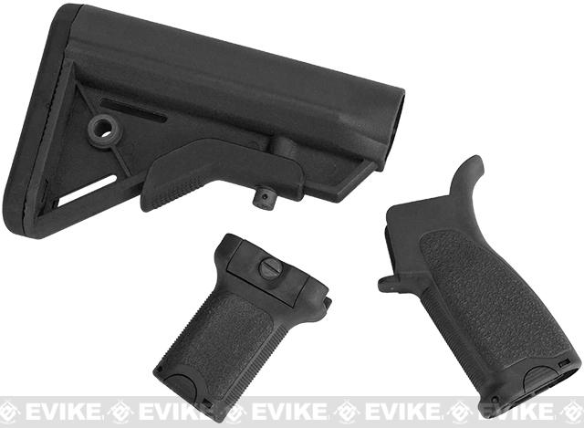 Dytac Furniture Kit w/ Short Grip for M4 and M16 Airsoft AEG Rifles (Color: Black)