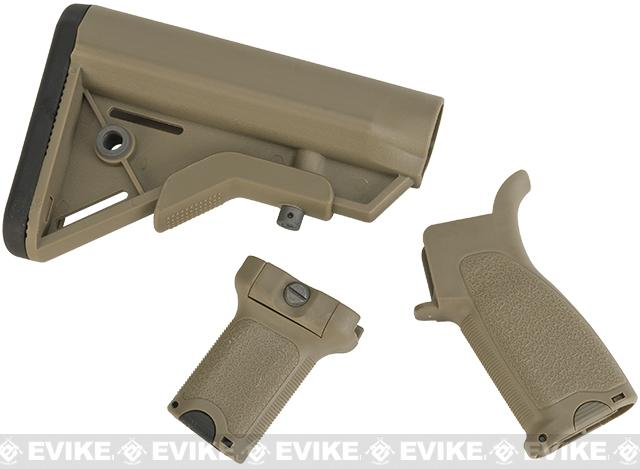 Dytac Furniture Kit w/ Short Grip for M4 and M16 Airsoft AEG Rifles (Color: Dark Earth)
