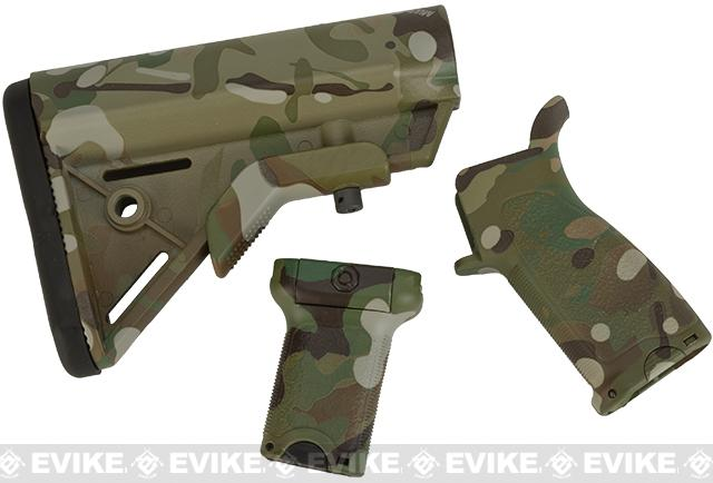 Dytac Furniture Kit w/ Short Grip for M4 and M16 Airsoft AEG Rifles (Color: Multicam)