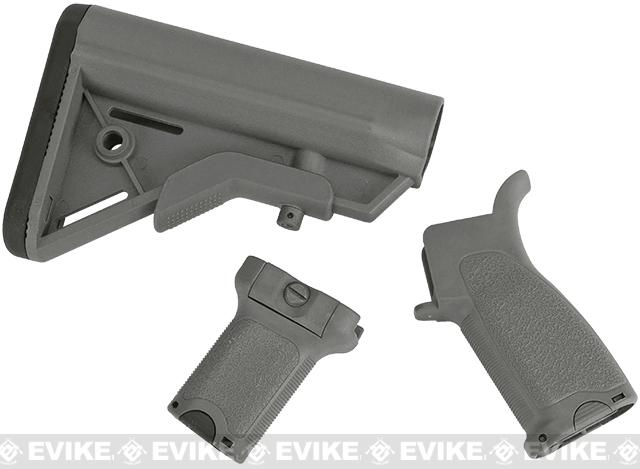 Dytac Furniture Kit w/ Short Grip for M4 and M16 Airsoft AEG Rifles (Color: Midnight Grey)