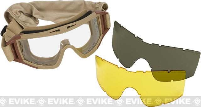 Classic Army Full Seal Type 2 Goggles Set with 3 Lenses - Dark Earth