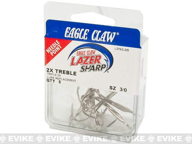 Eagle Claw Key-WM 2X Regular Shank Curved Point Treble - Nickle (Size: 3/0 Set of 5)