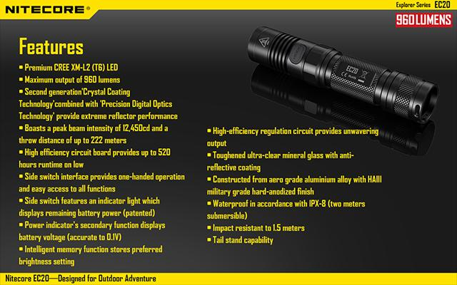 Nitecore EC20 CREE XM-L2 T6 LED High Power Flashlight (960 Lumen)