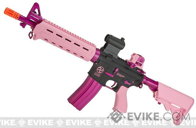 G&G Airsoft CM16 MOD-0 Airsoft M4 AEG Rifle UPI Edition - Pink/Black (Package: Add 9.6 Butterfly Battery + Smart Charger)