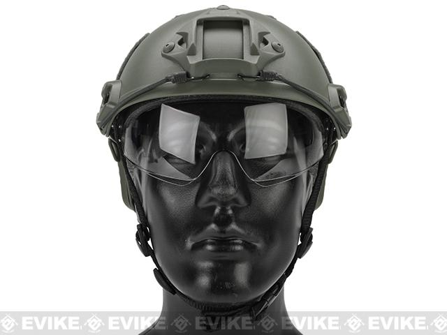 Emerson Bump Type Tactical Airsoft Helmet w/ Flip-down Visor (MICH Ballistic Type / Basic / Foliage Green)