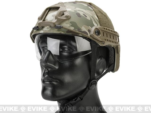 Emerson Bump Type Tactical Airsoft Helmet w/ Flip-down Visor (MICH Ballistic Type / Basic / Camo)