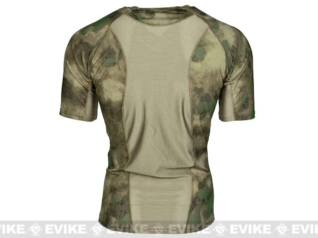 Emerson Skin-tight Base Layer Camo V-Neck Running Shirt - Arid Foliage (Size: Large)