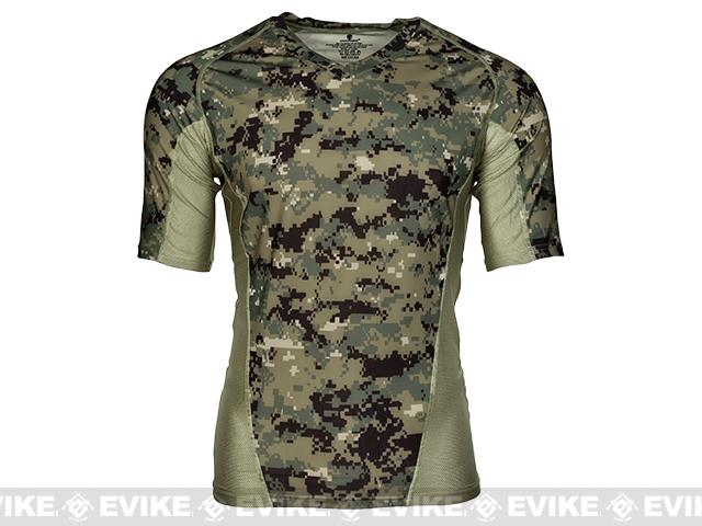 Emerson Skin-tight Base Layer Camo V-Neck Running Shirt - AOR-2 (Size: Large)