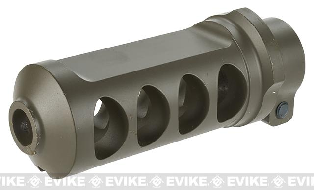 6mmProShop Full CNC M107 Style Muzzle Brake for M82 Series Airsoft Sniper Rifles - Dark Earth