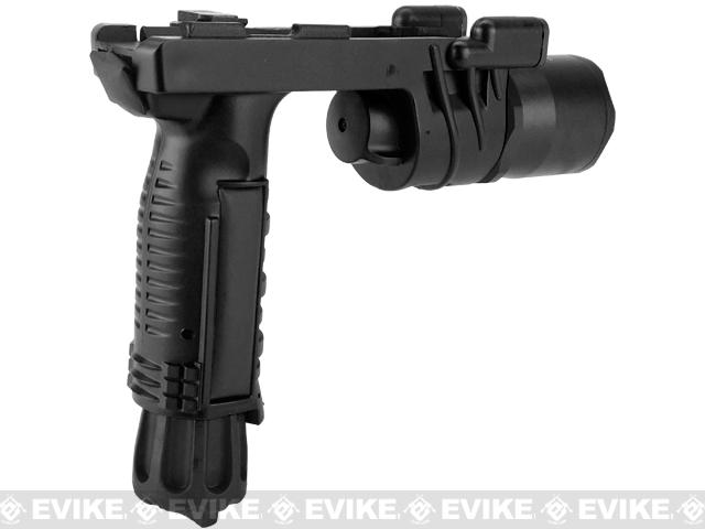 Avengers M900 Tactical Illuminator Vertical Grip w/ LED Grip Light for Airsoft (Color: Black)