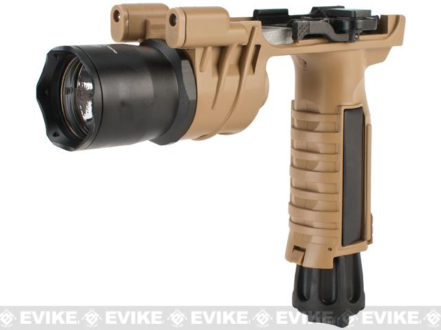 Avengers M900 Tactical Illuminator Vertical Grip w/ LED Grip Light for Airsoft (Color: Desert)