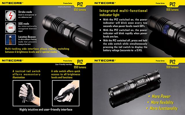Nitecore P12 Precise Series CREE XM-L2 LED High Power Flashlight (950 Lumen)