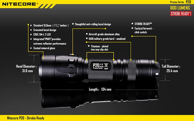 Nitecore P20 Precise Series CREE XM-L2 LED High Power Flashlight (800 Lumen)