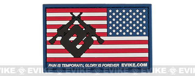 Evike.com US Flag PVC Hook and Loop Patch - Red, White, & Blue (Reversed)