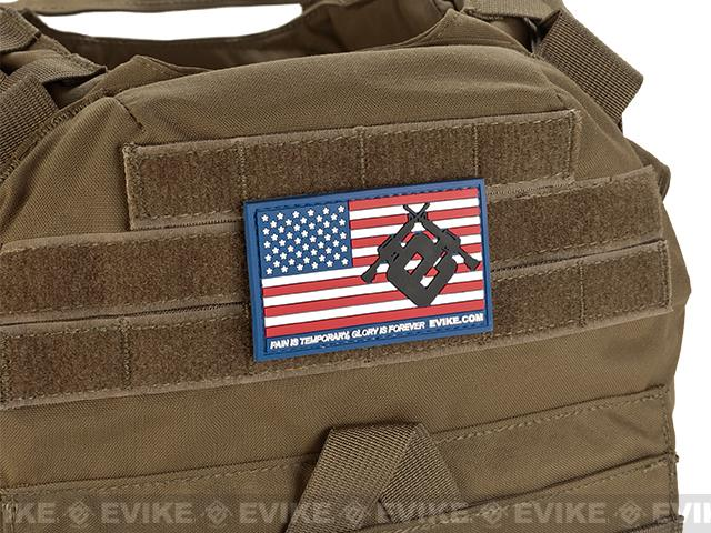 Evike.com US Flag PVC Hook and Loop Patch - Red, White, & Blue (Regular)